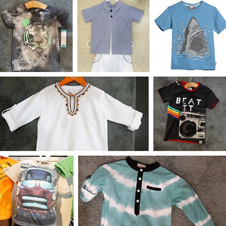 Nano tiger tee; Piluca button-down and shorts; City Threads shark tee; Arroz con Leche embroidered tunic; Mini Shatsu boombox tee; Dogwood truck tee; Aioty tie-dye top
