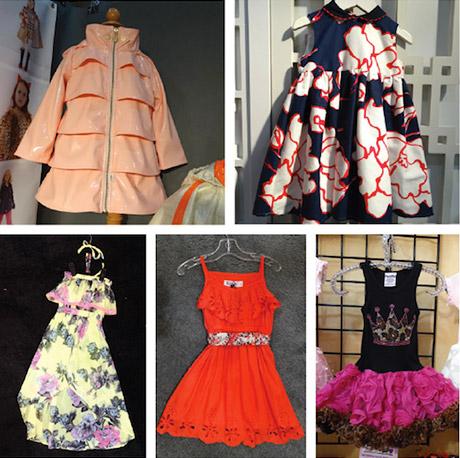 Oil & Water ruffle rain coat; Elizabeth Mckay floral dress; Specialtee Designs tutu dress; Kana coral eyelet sundress; Betsey Johnson Kids maxi