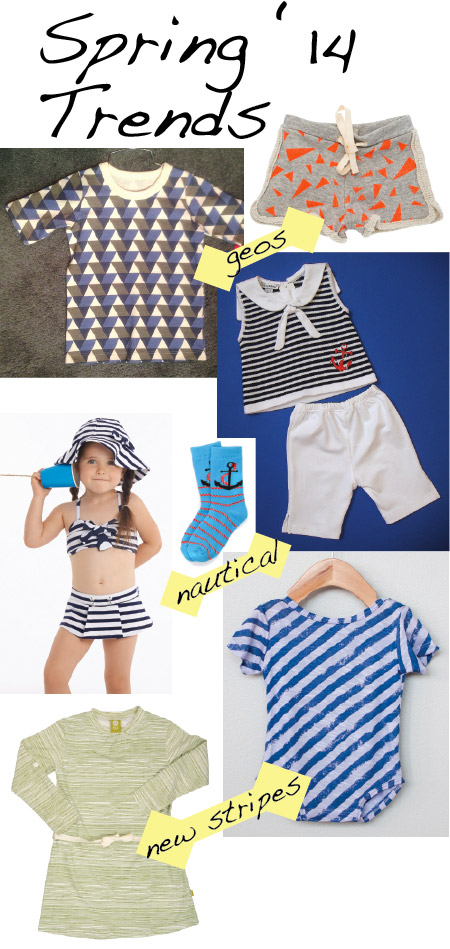 Geometric prints: Winter Water Factory tee, Noe & Zoe Berlin shorts; Nautical: Kissy Kissy set, Le Top swim, Richer & Poorer socks; Updated stripes: Poopsies one-piece, Nui Organics dress