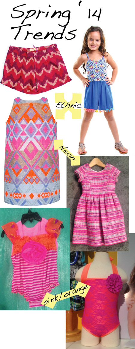 Aztec, Indian and African prints: Ode shorts, Haven Girl dress on model, Little Miss Galia neon dress; Neon: Baby CZ dress; Orange and Pink: Twirls & Twigs (left) and Love U Lots swimsuits