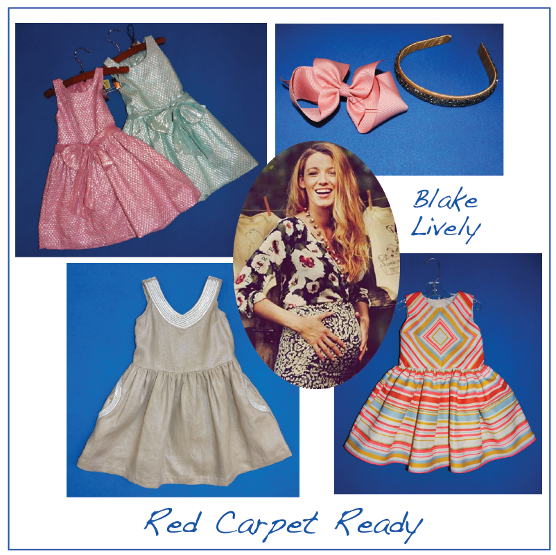 Blake Lively's baby-to be would wear: Sophie Catalou's shimmery dresses, Bows Arts accessories, the geometric dress from Halabaloo and Kana's sequin-embellished dress. Photo credit.