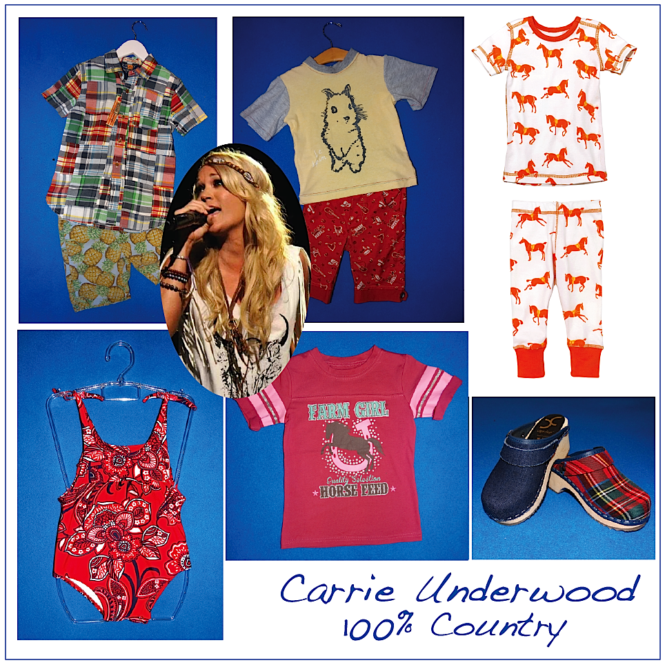 Depending on whether its a girl or a boy, the country crooner's baby-to-be would wear: Masala Kids horse pjs, Farm Girl jersey tee, Planet Sea bandana suit, Taylor Vintage madras button-down and pineapple shorts, Team Chipmunk tee and bandana shorts, and Cape Clogs shoes. Photo credit.