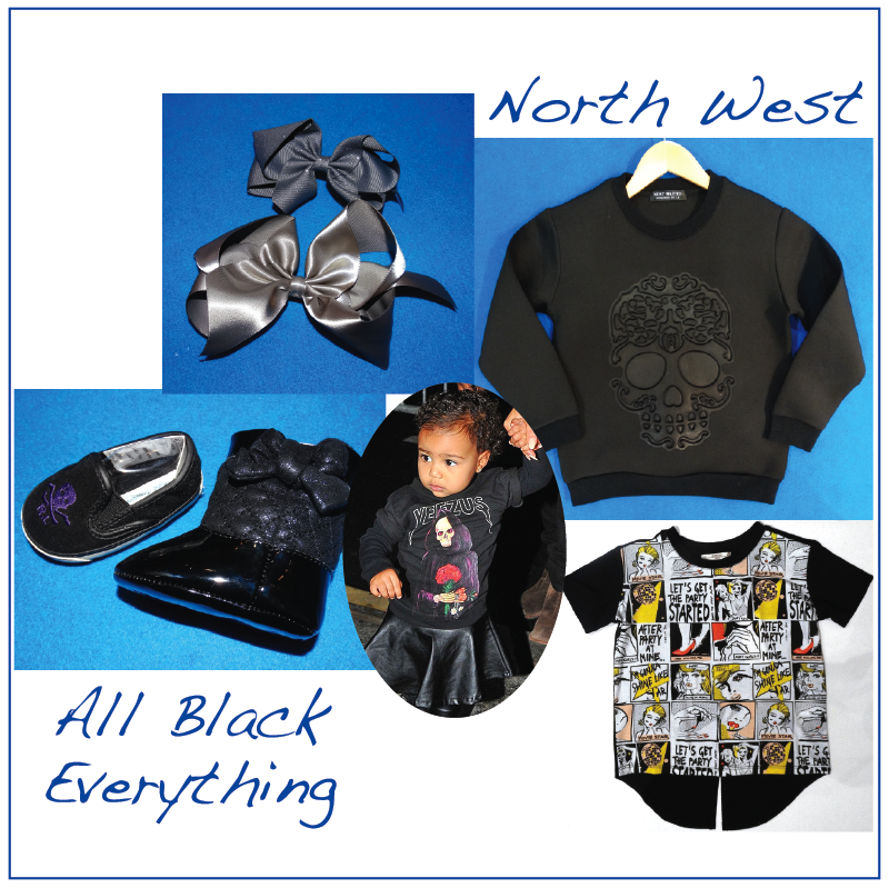 Kim and Kanye's little diva would wear: Bows Arts hair accessories, Most Wanted sweatshirt, Super Trash comic book tee and Ralph Lauren shoes.