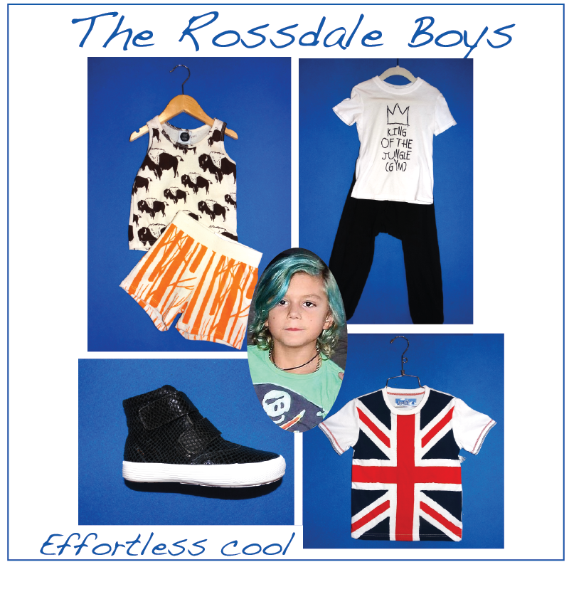 "Gwen & Gavin's stylish boys would wear: Izzy & Ferd buffalo tank and shorts, Baby Beast ""king"" tee and pants, Kapital K Union Jack T-shirt and Old Soles sneakers. Photo credit."